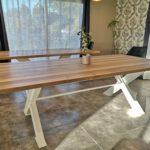 table bois pied métal peint